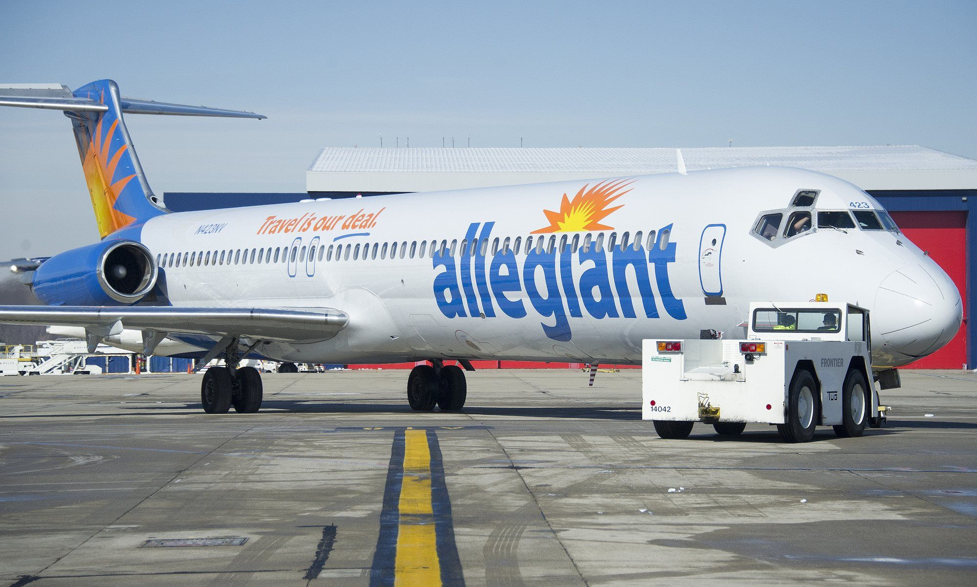 Blue Man Group in front of the Blue Man Group Allegiant plane Our Fleet Pinterest