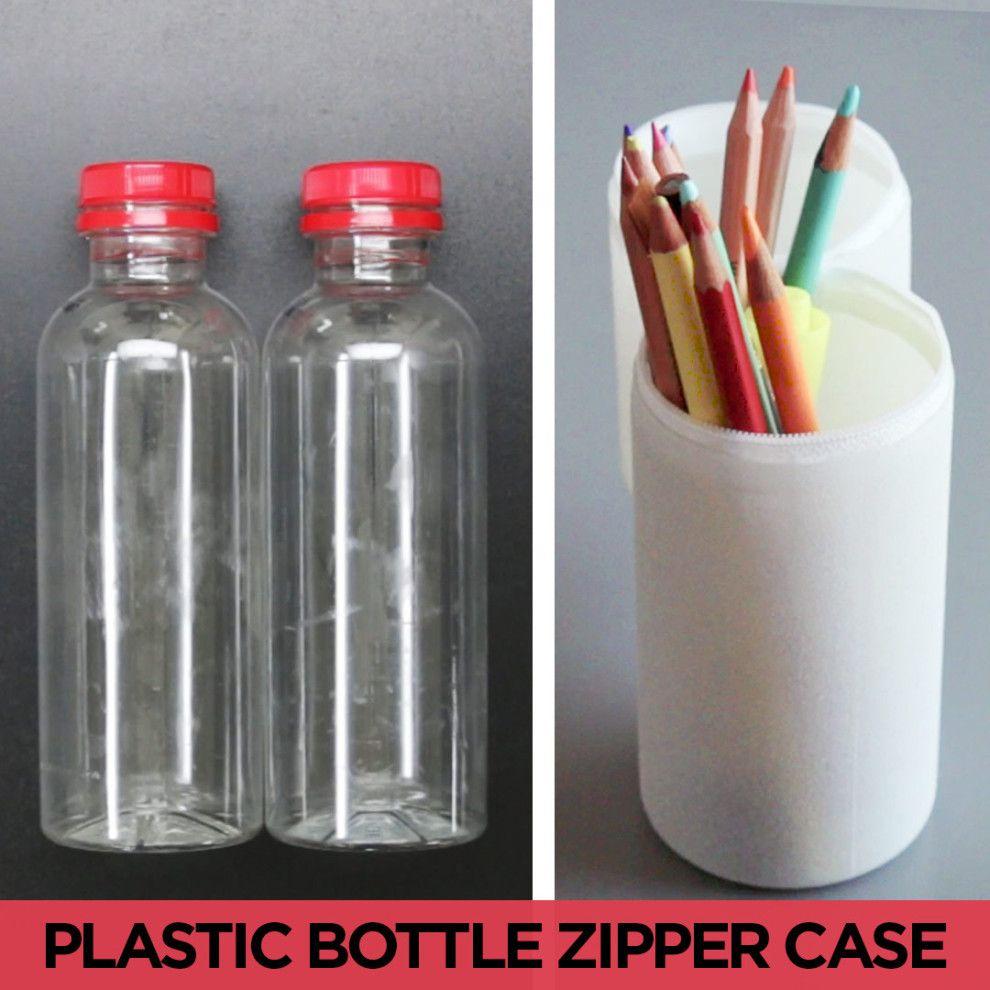 upcycle old beverage bottles with this smart pencil case. Black Bedroom Furniture Sets. Home Design Ideas