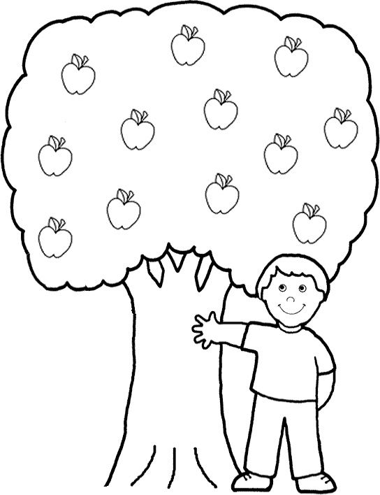 A Boy Shows The Apple Tree Coloring For Kids Tree Coloring Pages Kidsdrawing Free Co Fruit Coloring Pages Tree Coloring Page Sunday School Coloring Pages