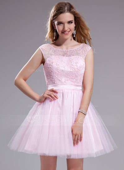 [£ 101.00] A-Line/Princess Scoop Neck Short/Mini Tulle Lace Prom Dress With Ruffle Beading Sequins Bow(s) (018025270)