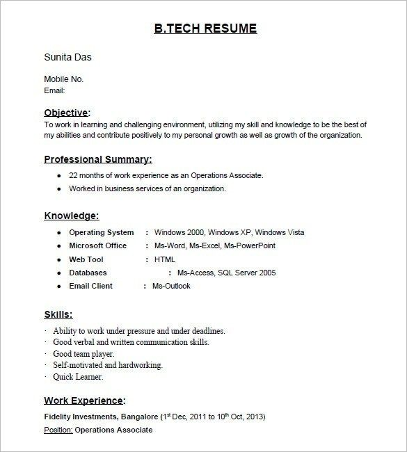 Gallery 1 Resume Format For Backend Jobs Download Pinterest - Simple Resume Format For Freshers