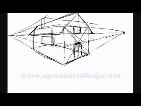 Apprendre à Dessiner Facilement étape Par étape Une Maison En Perspective.  Pour Voir D´autres Vidéos Et Dessins ( Animaux, Paysages, Etc ) Rentre Dans  Ma ...