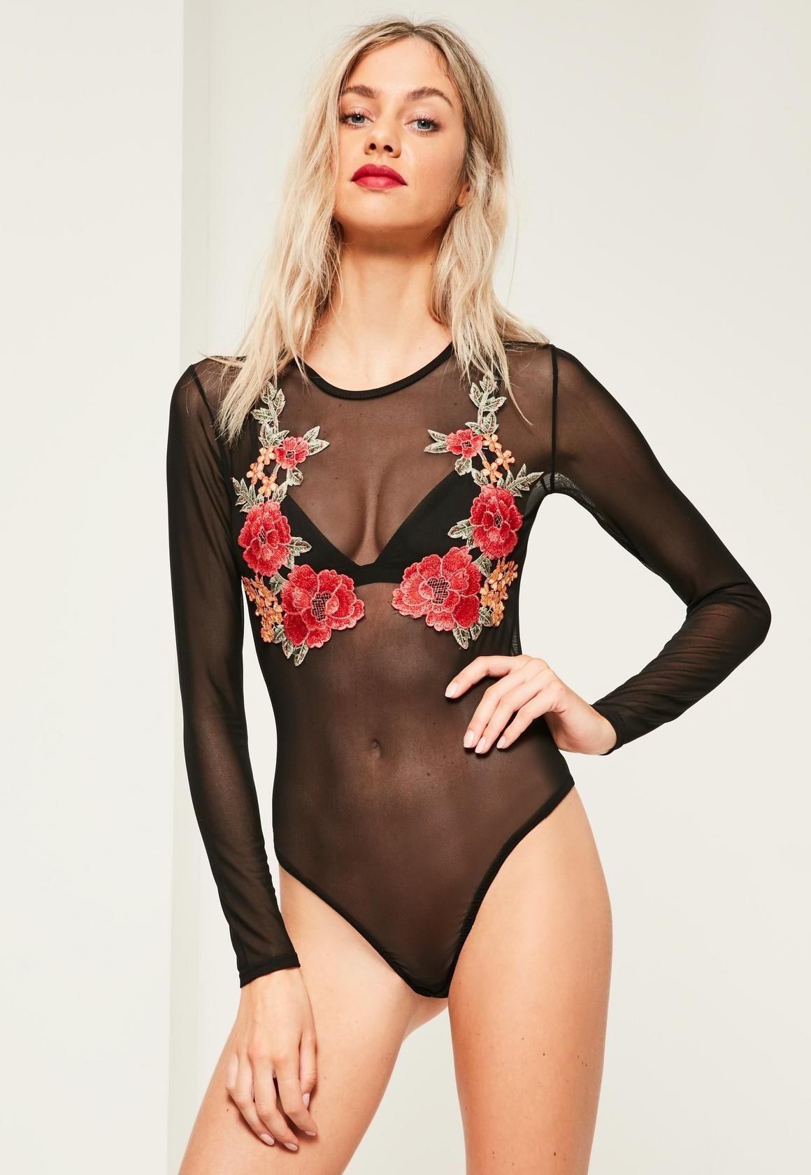 b09e088134 Missguided - Black Rose Applique Mesh Long Sleeve Bodysuit