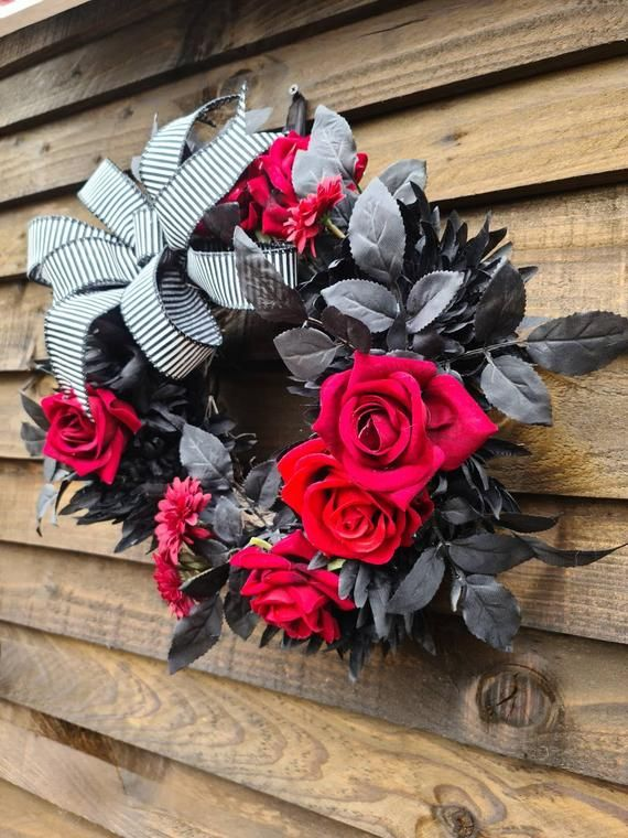 Photo of Black and red decor,black wreath,red wreath, front door wreath,gothic,Halloween wreath,door decor,door wreath,floral wreath,flower wreath