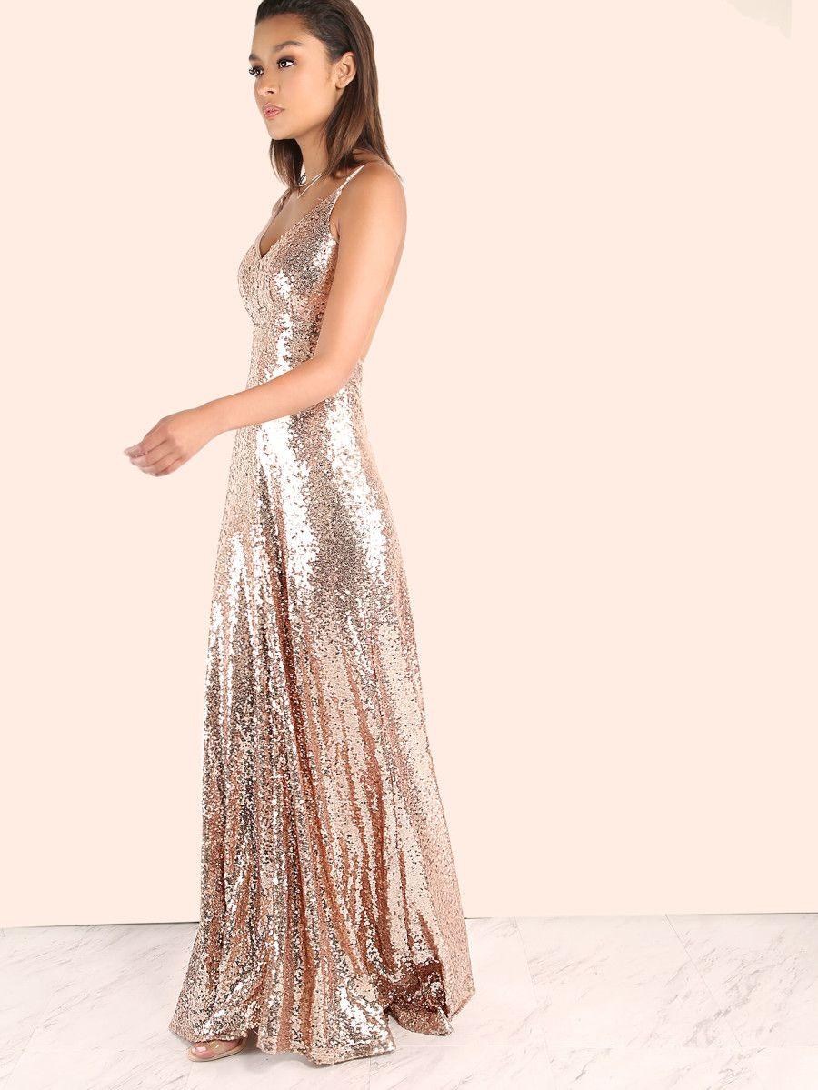 852fb18608 Backless Sequin Cami Maxi Dress ROSE GOLD -SheIn(Sheinside) | My ...