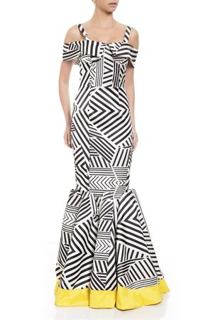vestido geometrico longo