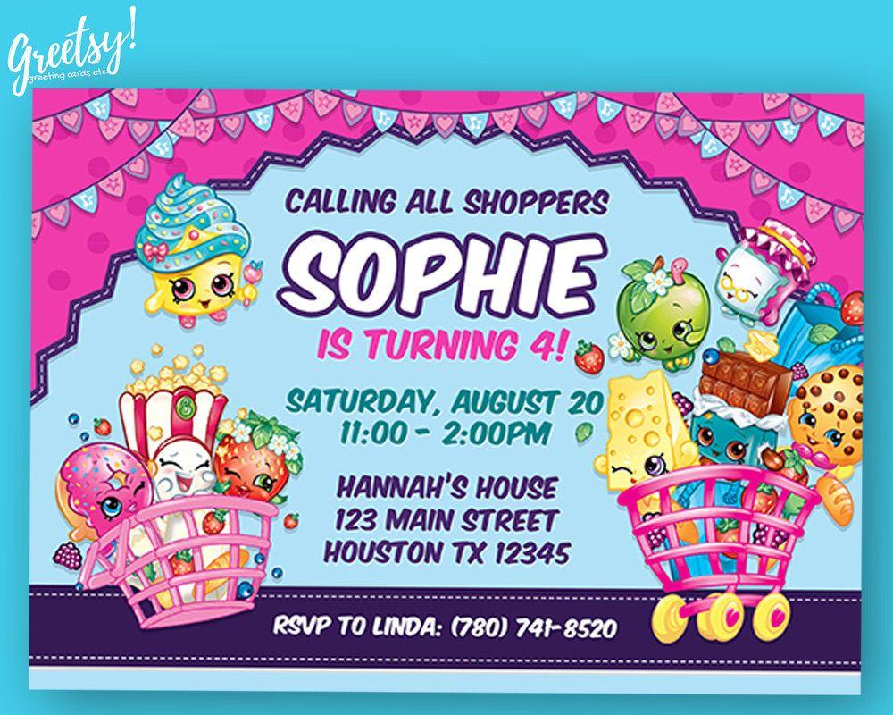 Shopkins Invitation Shopkins Invite Shopkins Printable Bithday Invitation Digital Shopkins Birthday Shopkins Party