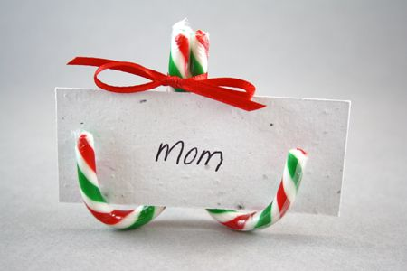 Christmas DIY: A festive (and easy to make!) place card holder, using seed paper to write the names on.