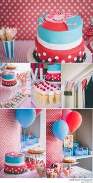 Decoração festa Peppa Pig, vermelho e azul