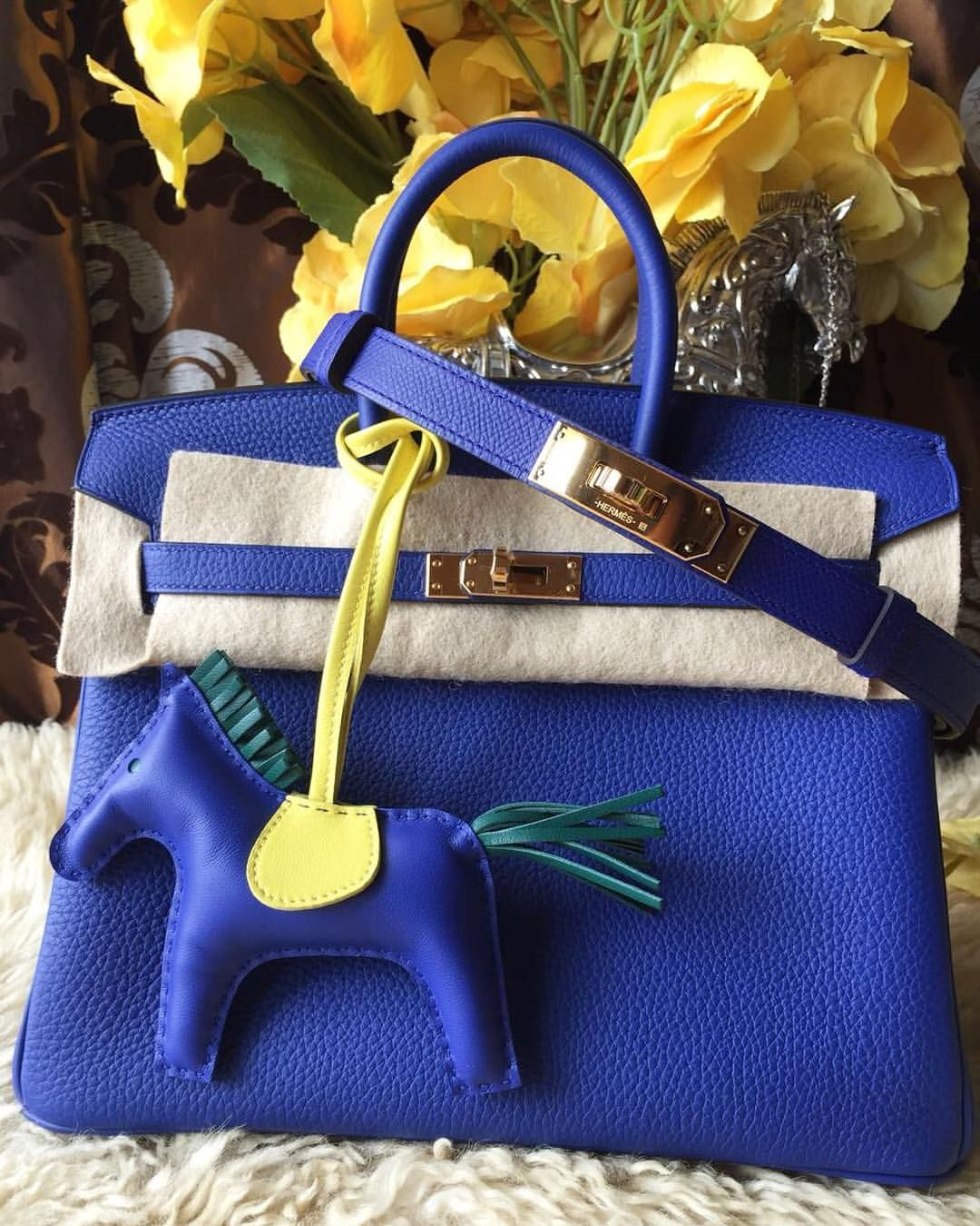 37518986604d Mini Birkin 25 Blue Electrique Togo GHW with matching Kelly Belt and Rodeo  Charm in size