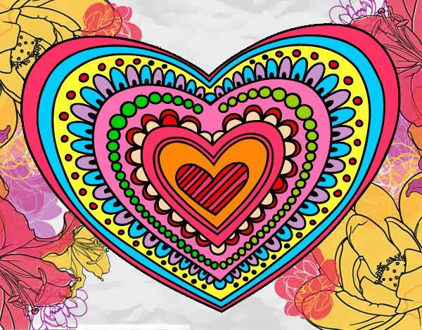 Dibujos De Corazones Coloridos: Dibujo Mandala Corazón Pintado Por Silver022