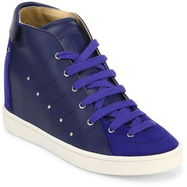 2860d7ecfe Giuseppe Zanotti Soma 50 Leather High-Top Wedge Sneakers ( 318) ❤ liked on  Polyvore featuring shoes