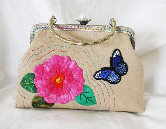 20cm kiss lock purse embroidery applique purses & handbag cosmetic