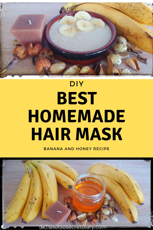 Diy Easy Hair Mask With Banana And Honey Homemade Hair Products Homemade Hair Mask Hair Mask