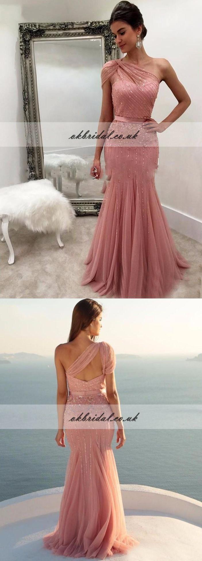 One shoulder tulle prom dress beaded prom dress mermaid prom dress