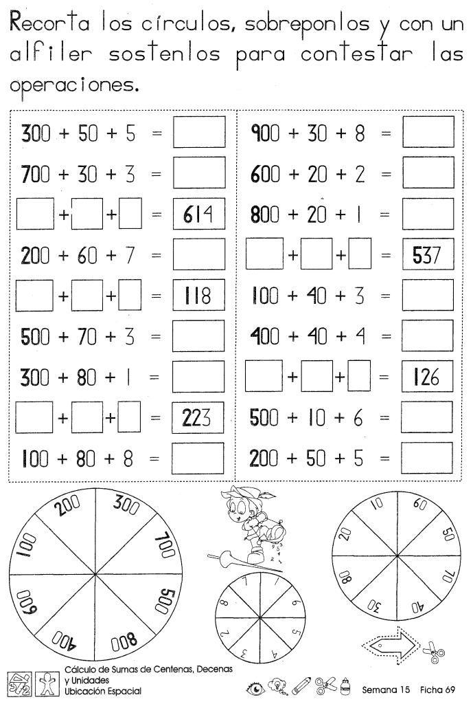 Cálculo de sumas de centenas, decenas y unidades 2do grado | Decenas ...