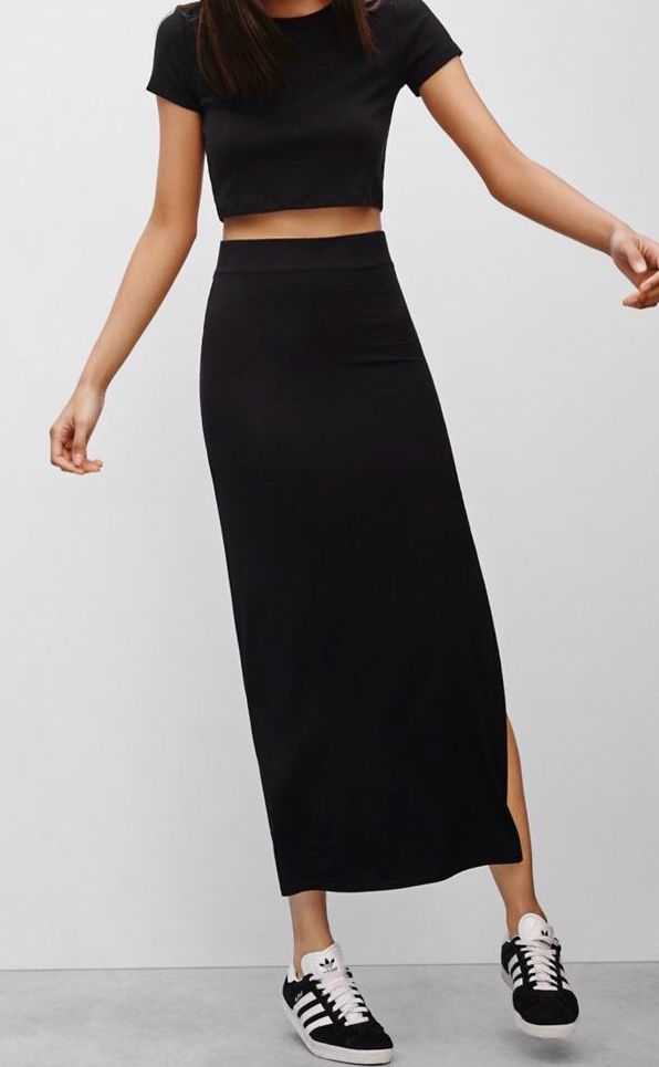 7c196e555e72 minimalist outfit: black high waisted skirt, black crop top, adidas three  strip sneakers