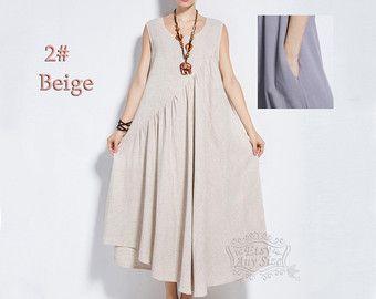 Anysize Linen Cotton Maxi Dress With Side Seam Pockets Etsy Vestidos De Talla Grande Ropa De Lino Vestido Con Bolsillos