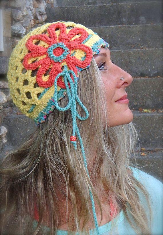 Summer HIPPIE FLOWER Yellow BEANIE hat with Headband Flower Hat ...