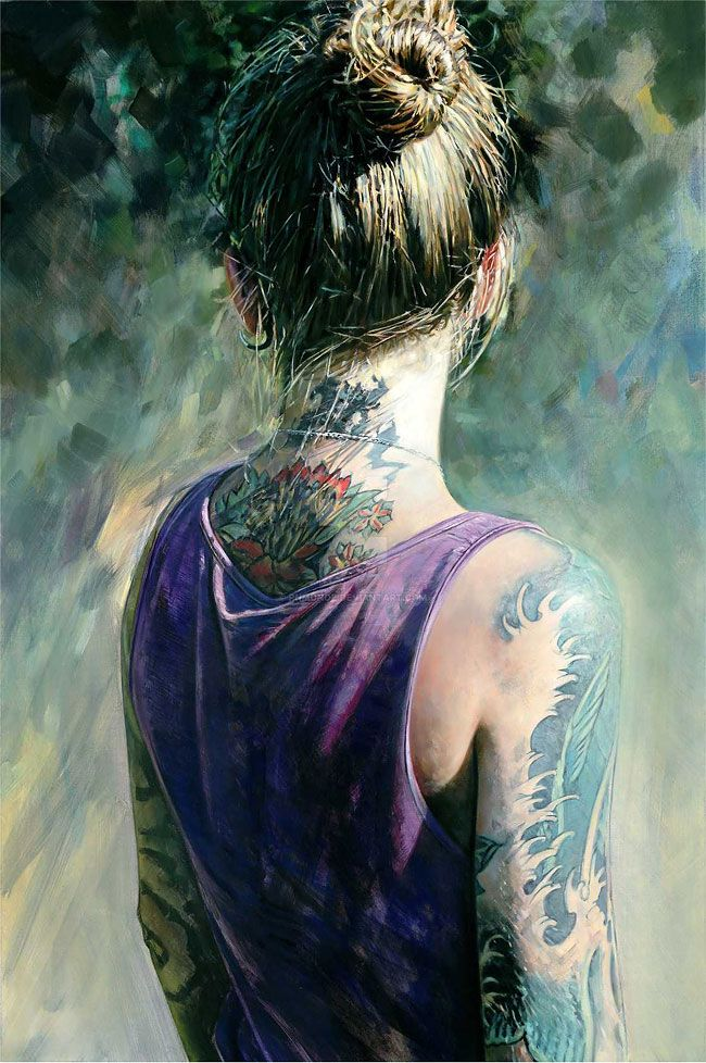 Fashion Portrait Paintings Of The Tattooed Girls By Philip Munoz
