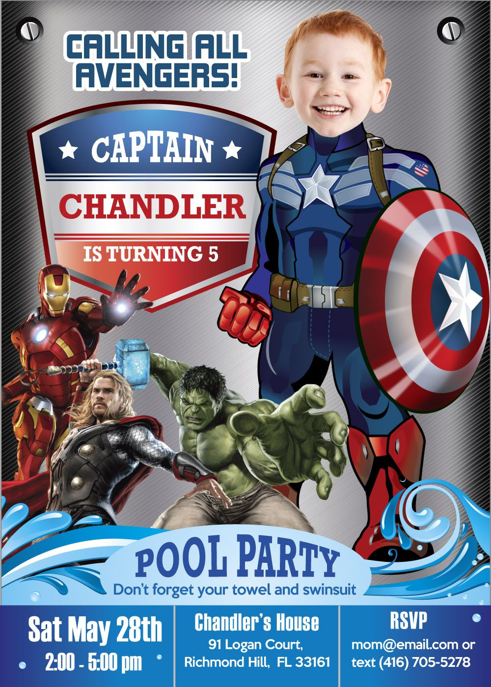 bday party invitation mail%0A Pool Party Captain America Birthday Invitation  Captain America Pool Party  invitations  Avenger pool party