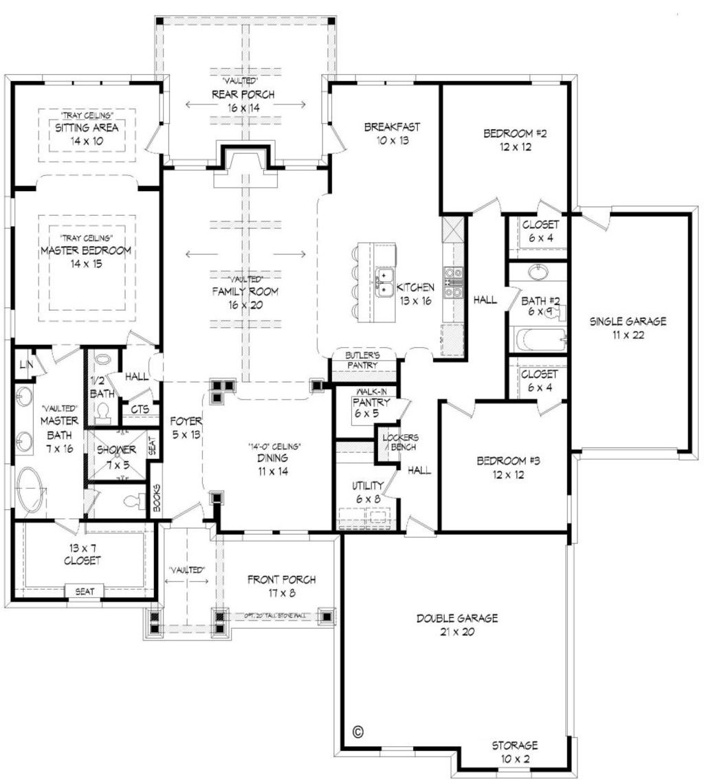 Craftsman Style House Plan 3 Beds 2 5 Baths 2300 Sq Ft Plan 932 4 Bungalow House Plans Craftsman House Craftsman Style House Plans