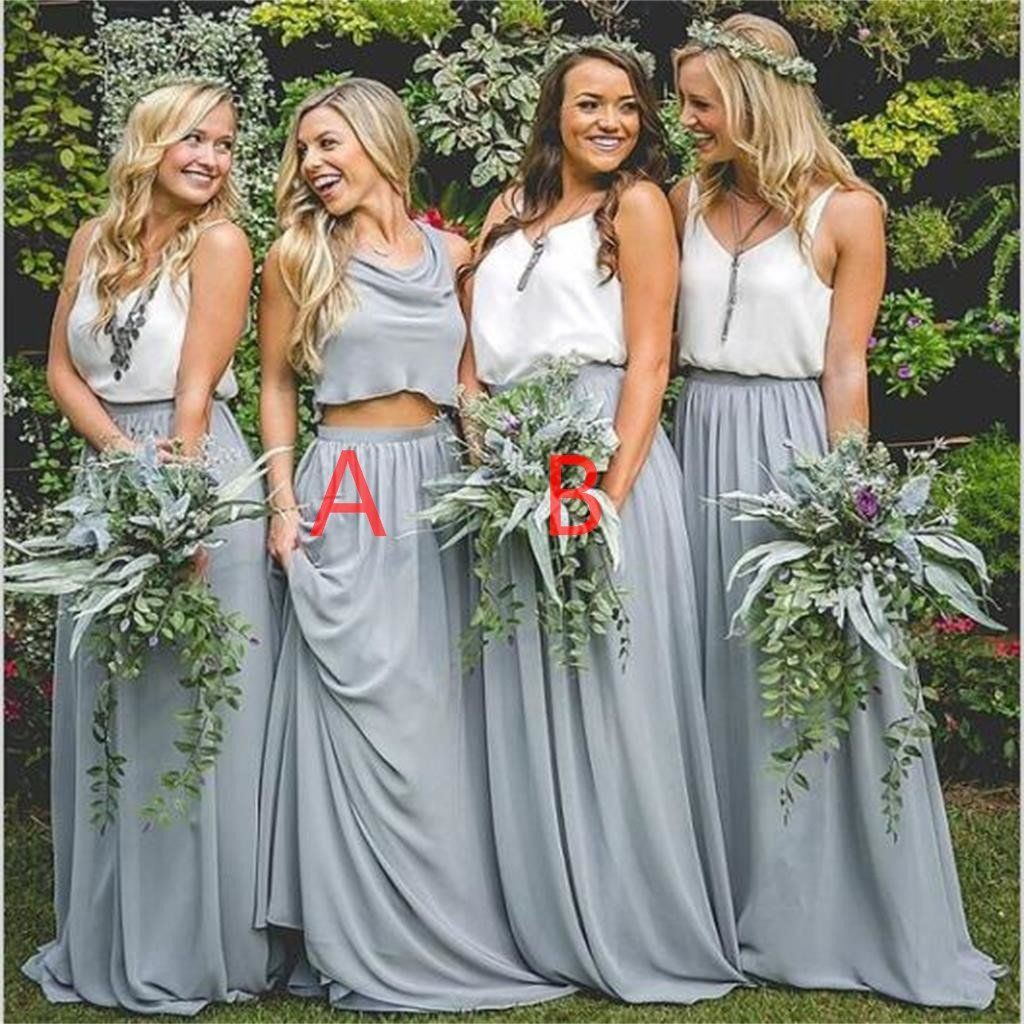 New design popular simple cheap two pieces bridesmaid dresses