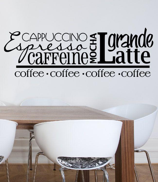 Coffee Subway Art Vinyl Wall Decal Word Art Wall Words Cappuccino Mocha  Caffeine Latte Espresso