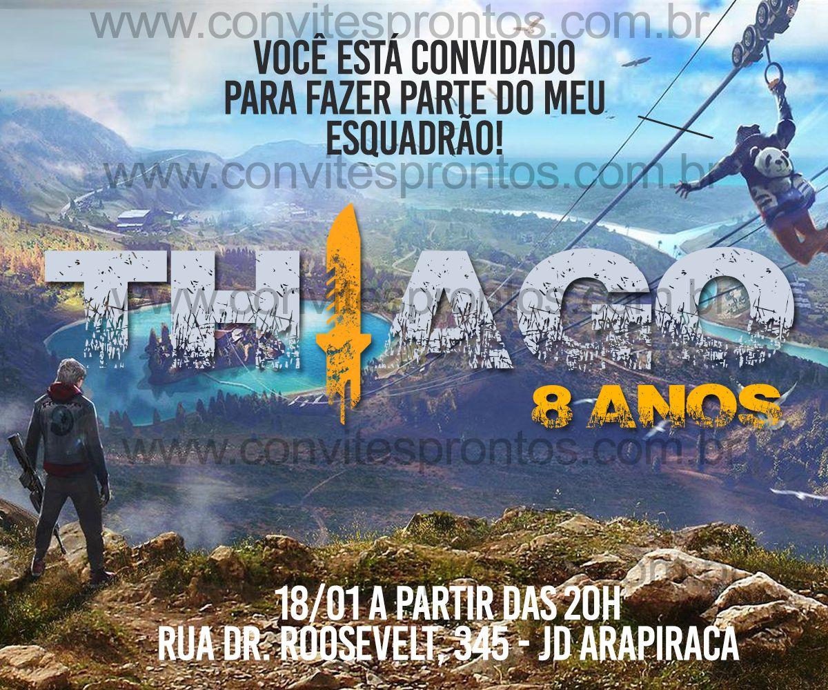 Convite De Aniversario Tema Free Fire Game Convite De