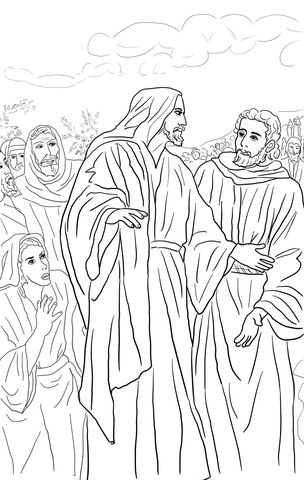 Jesus Heals The Bleeding Woman Coloring Page Biblia Copii