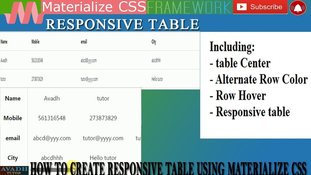 How To Create Responsive Table Materialize Css Tutorial