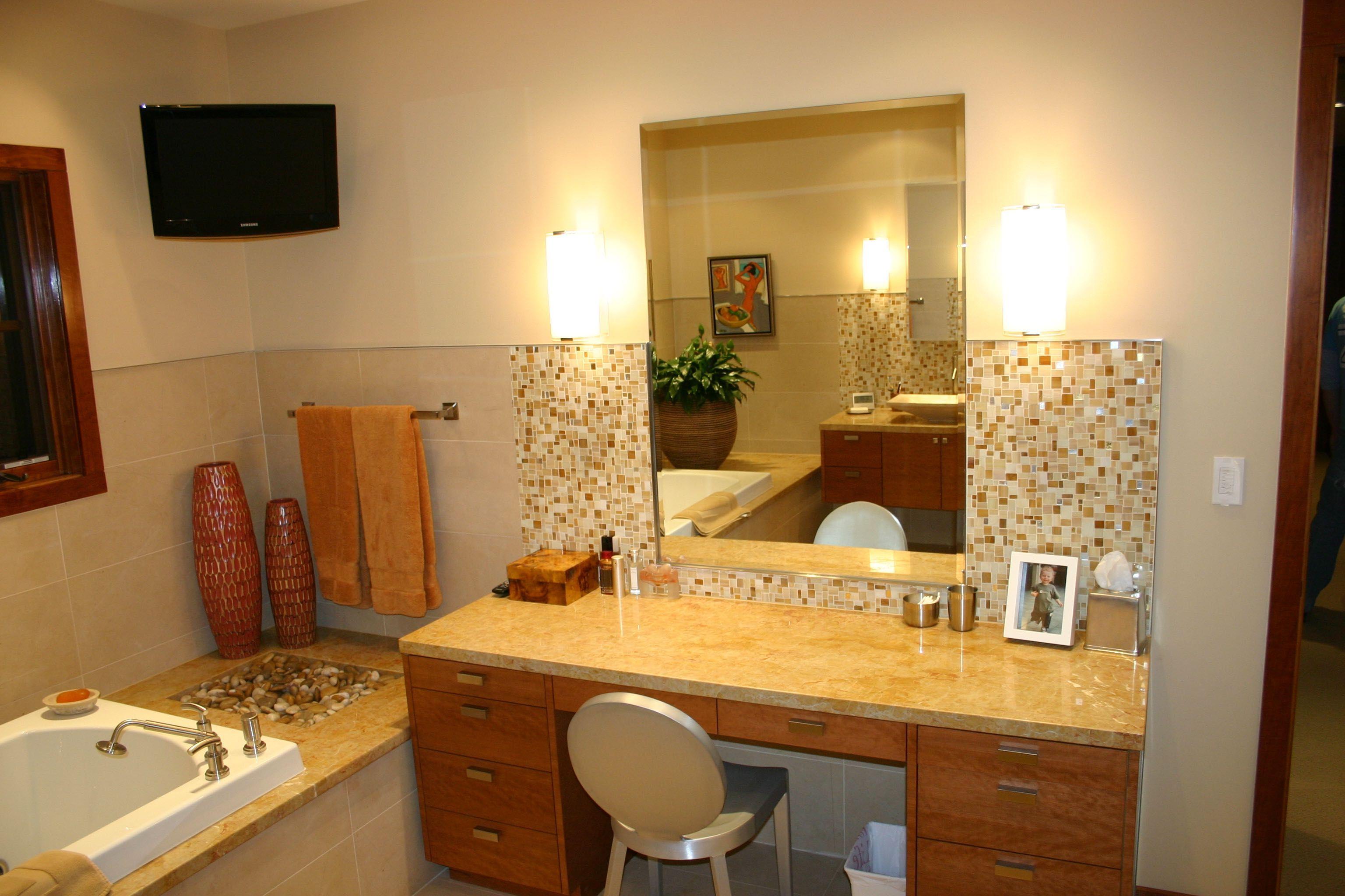 Zen bathroom tub with built in vanity. Custom built by Ferguson Fine ...