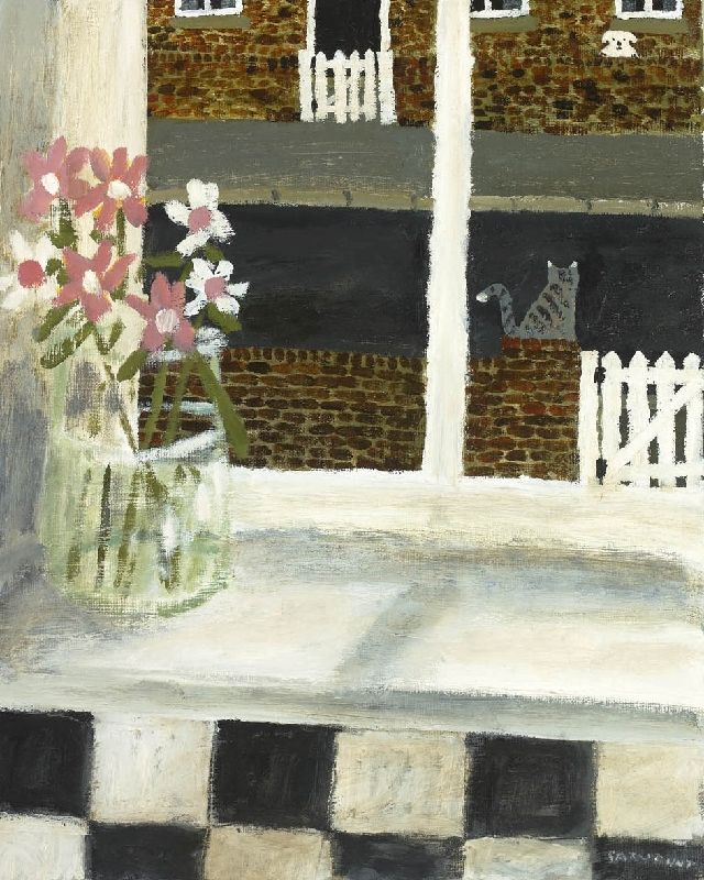 Kitchen Window Drawing: GARY BUNT The Kitchen Window ...look Very Closely For The Dog That The Cat Is Eyeing!