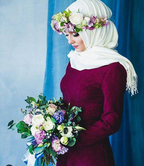 Hijab Fashion | flower crown | HIJABI STYLE | Hijab fashion, Wedding