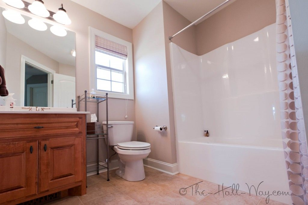 Pleasing Guest Bathroom Maple Cabinets With Cherry Stain And Mocha Interior Design Ideas Lukepblogthenellocom