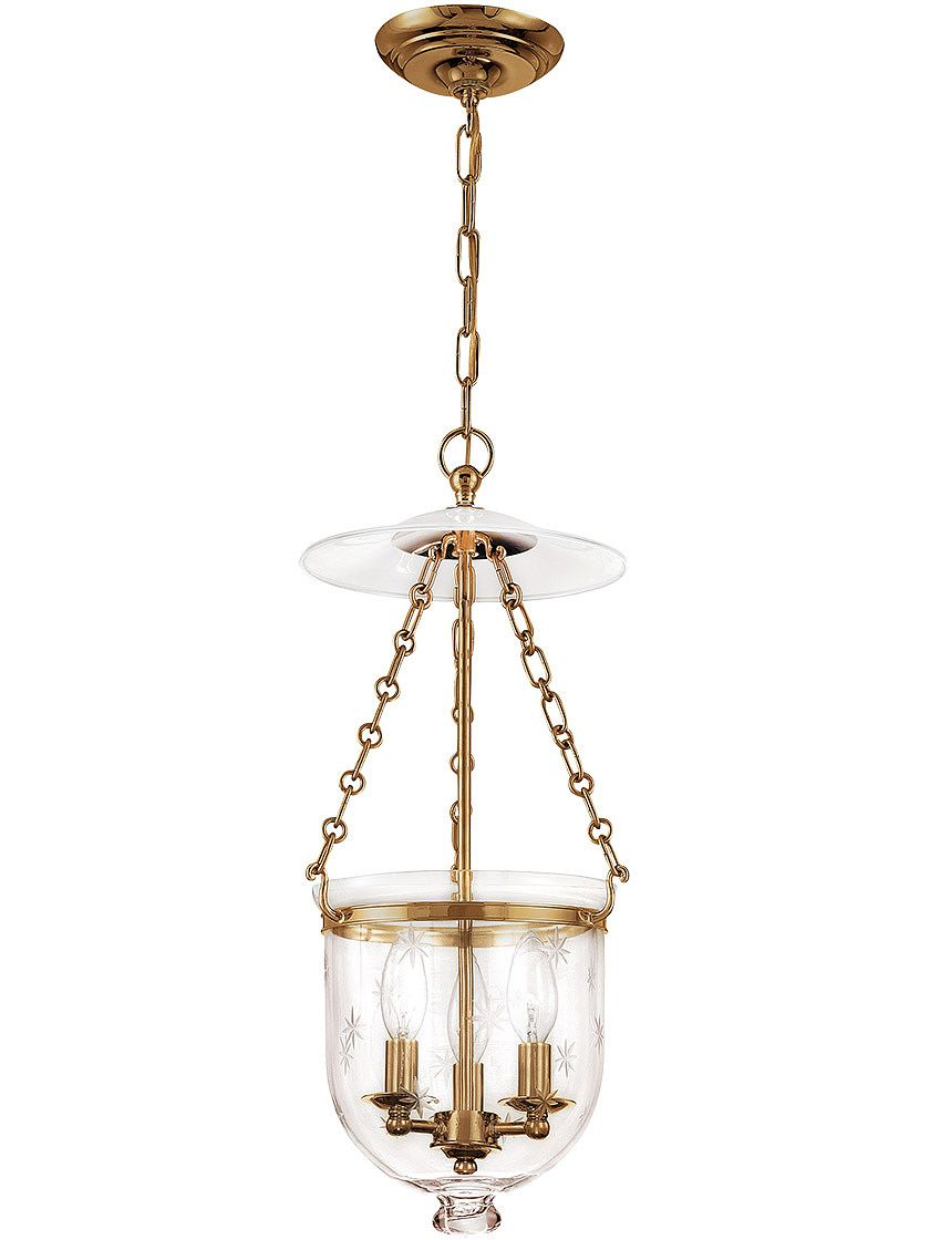 Hampton Bell Jar Hall Pendant With Etched Star Pattern House Of Antique Hardware