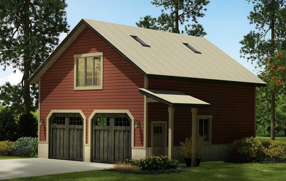 Plan 72822da 2 car country style garage with rec room for Carriage garage plans