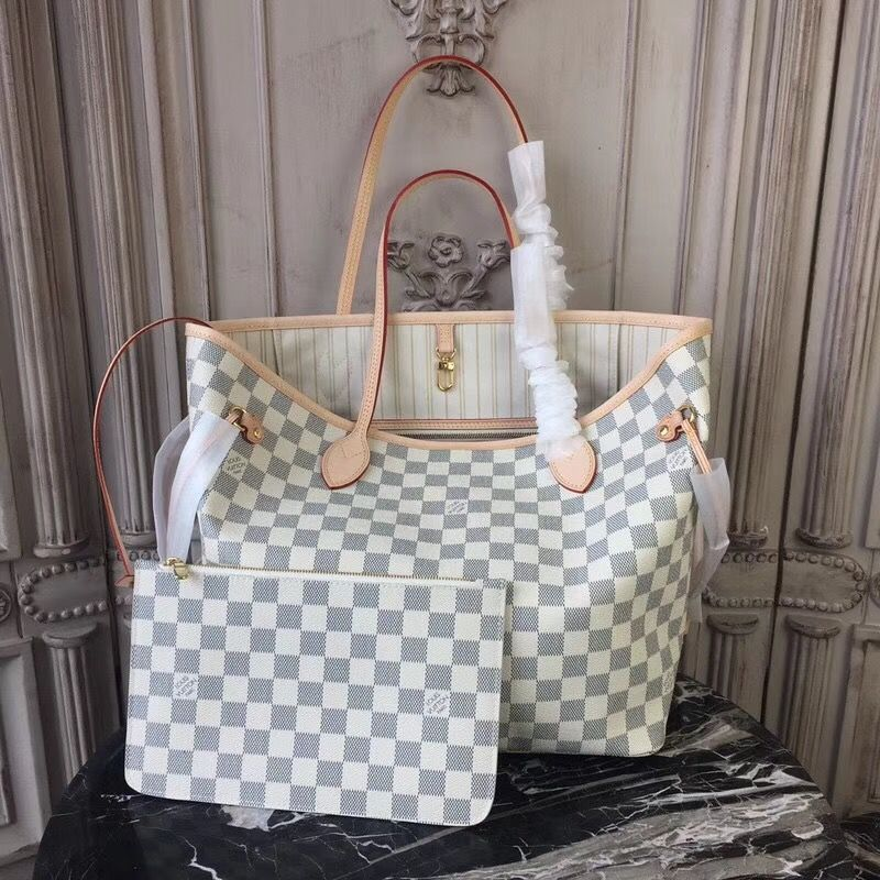 e6a030be227 Louis Vuitton N41361 Neverfull MM Damier Azur Canvas Beige | Great ...