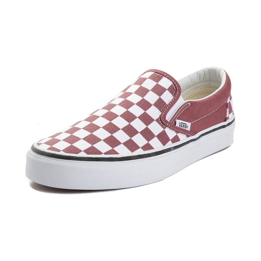 vans checkerboard slip on burgundy