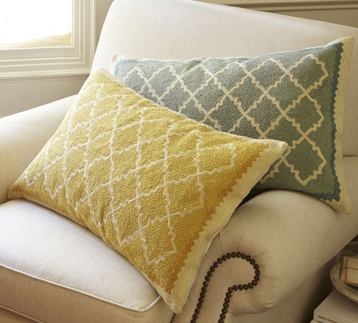 Roz Crewel Embroidered Lumbar Cushion Cover   Pottery Barn ...