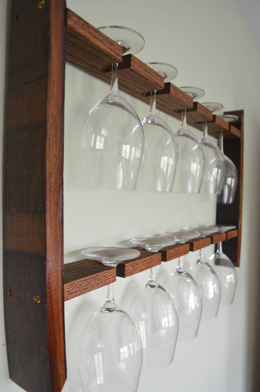 Verre à vin rack tonneau de vin recyclée   Etsy   Porte verre à ...