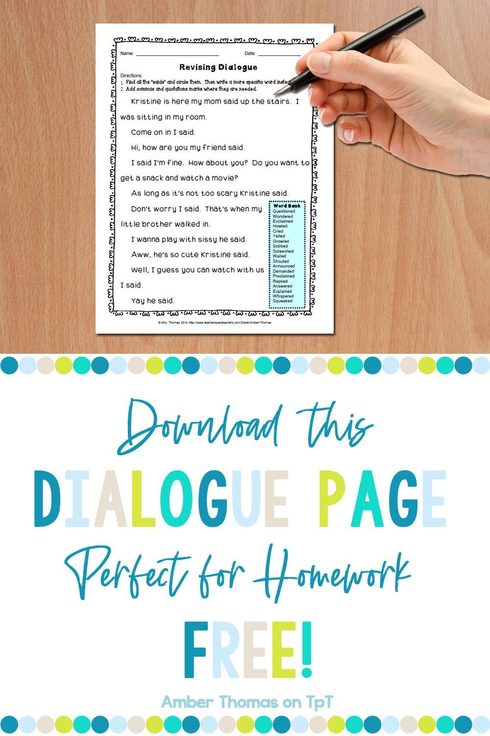 Revising Dialogue Homework Or Printable Distance Learning Page In 2020 Classroom Job Application Word Choice Activities Narrative Writing [ 1500 x 1000 Pixel ]