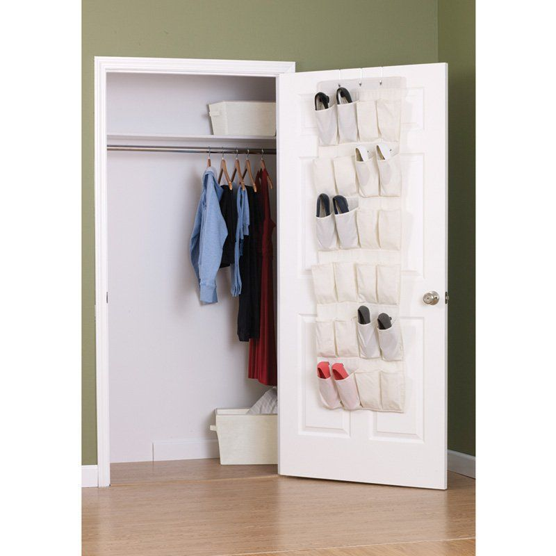Household Essentials 24 Pocket Over-the-Door Shoe Organizer - Natural Blend - 311382