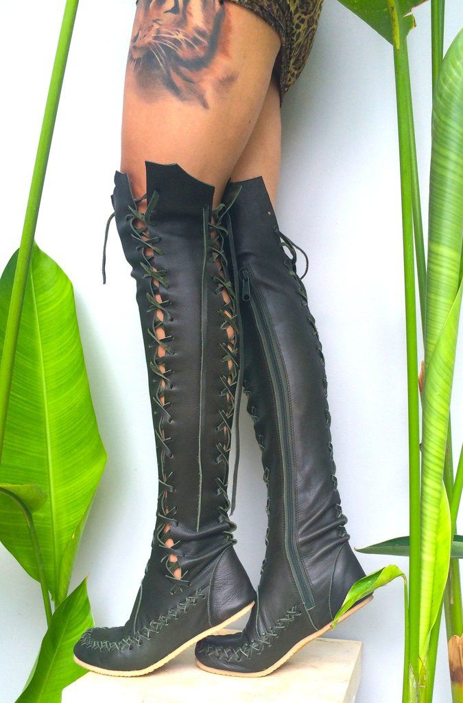 555697afa0f Elven Dark Forest Green Leather Knee High Boots in 2019