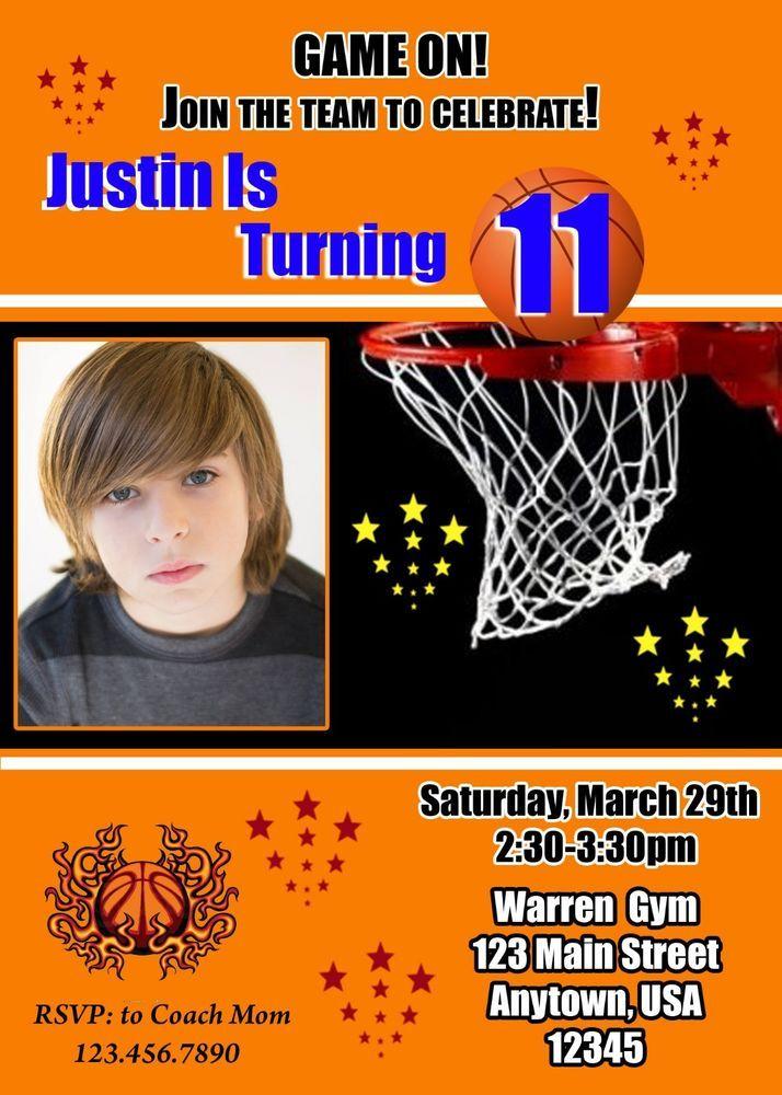 Basketball Birthday Invitation Sports Invitation Basketball