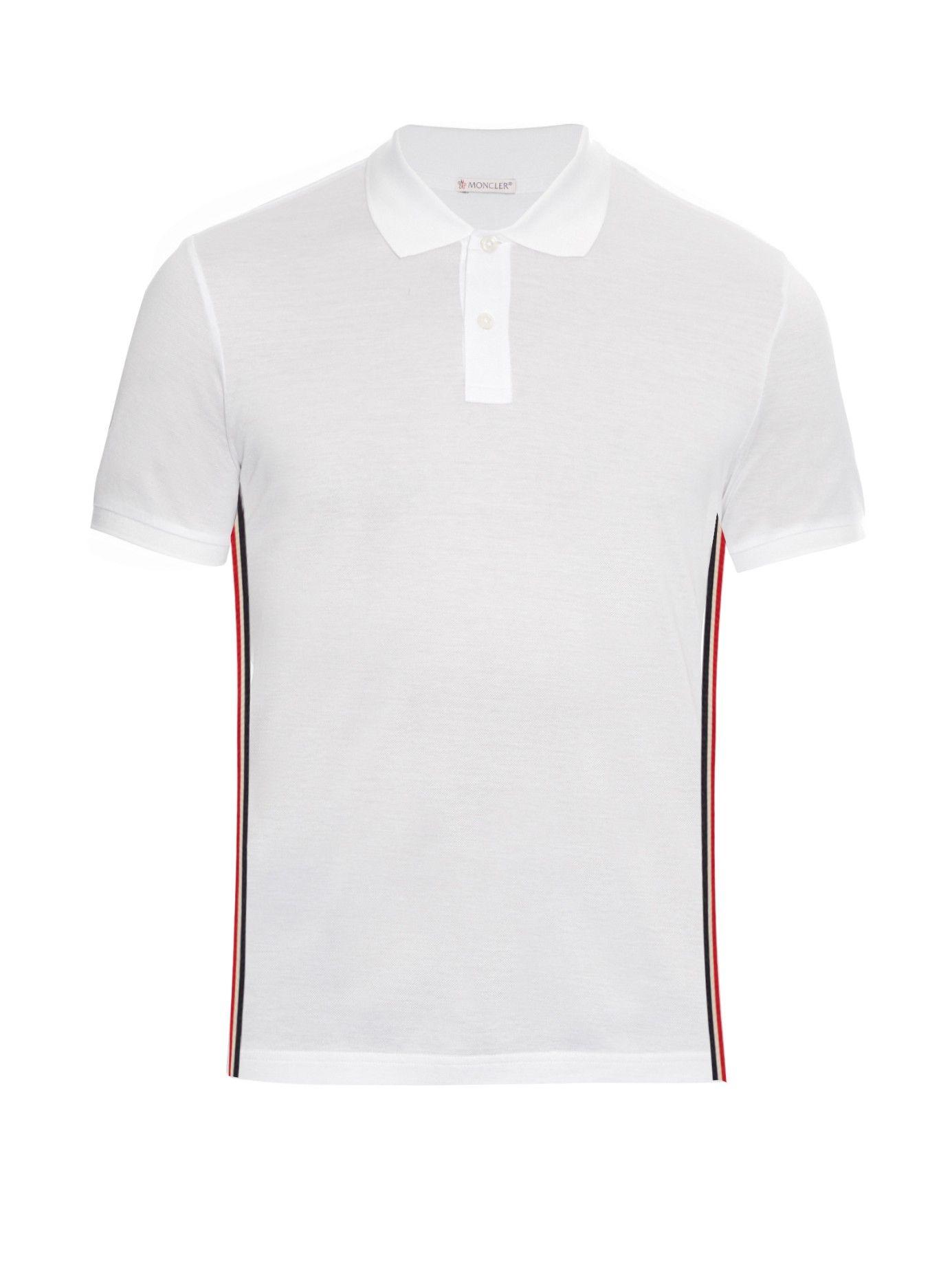 c15f80d2b653 Side-stripe cotton-piqué polo shirt