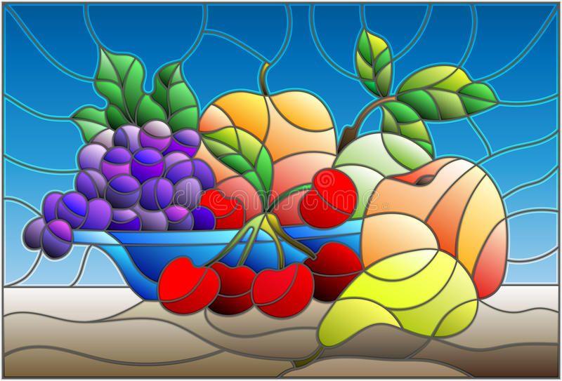 Ilustracion Acerca Ejemplo En Estilo Del Vitral Con Vida Inmovil Frutas Y Bayas En Cuenco Azul Ilust Disenos De Pintura En Cristal Pintura En Vitral Vitrales