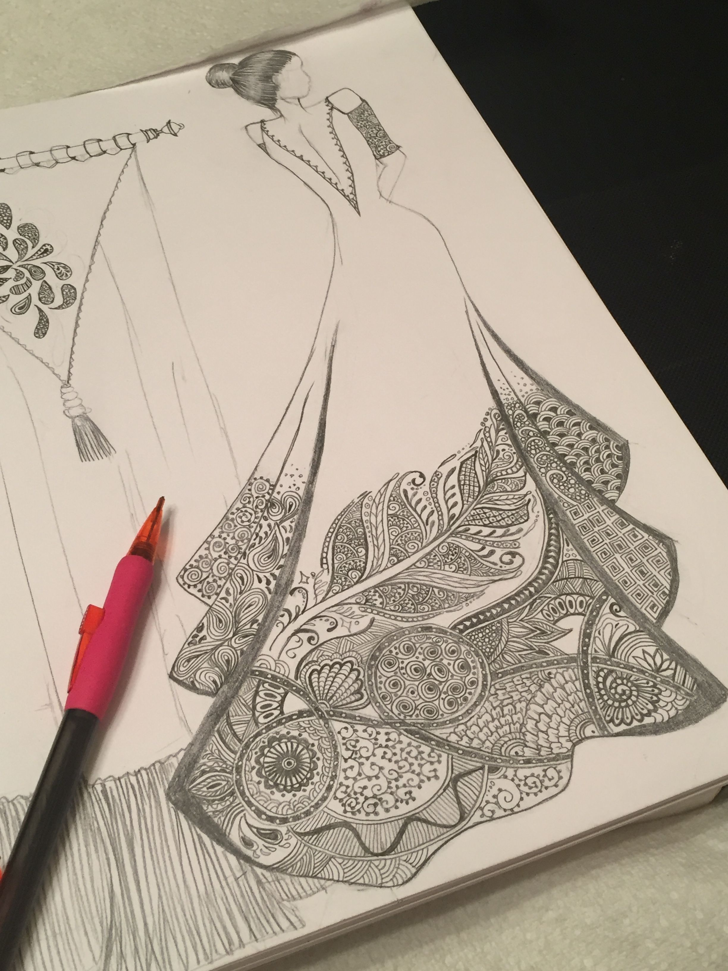 Pin By Wafa N On My Work My Sketches Dress Design Drawing Fashion Design Drawings Illustration Fashion Design