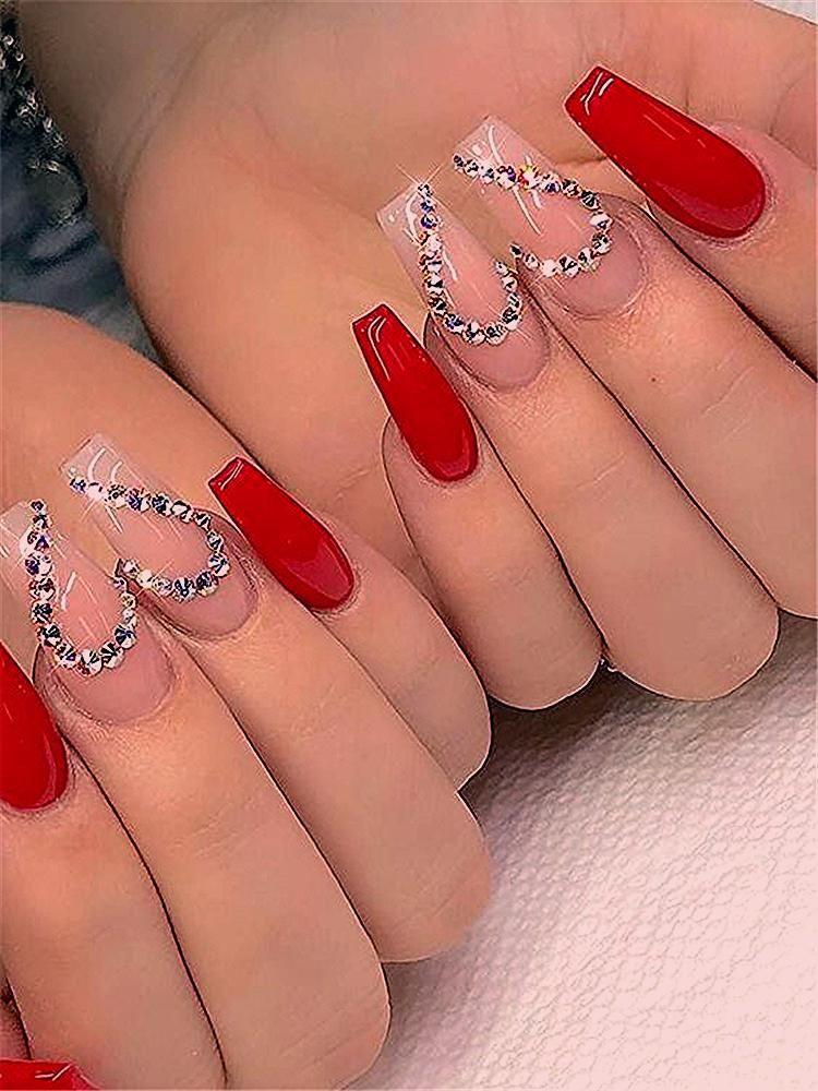 Photo of Trendy Winter Red Sarg Nail Designs für Weihnachten und Neujahr; Red Long A …… – BestBLog