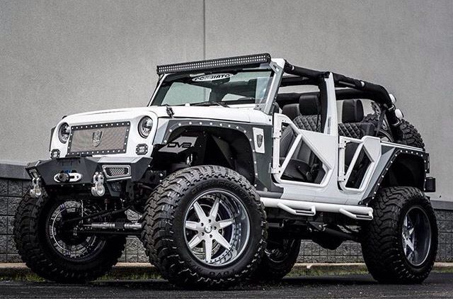 Black And White Jeep With Unique Doors Great Lift And Wheels Jeep Wheels Custom Jeep Jeep Wrangler